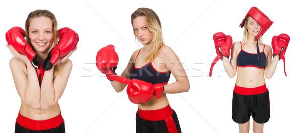 Nő boxoló fehér kéz mosoly arc Stock fotó © Elnur