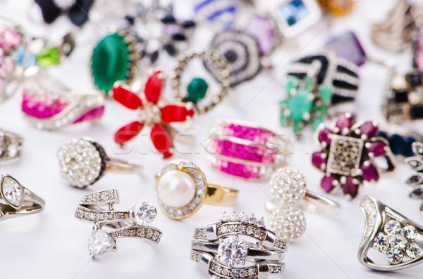 Collectie sieraden ringen witte mode metaal Stockfoto © Elnur