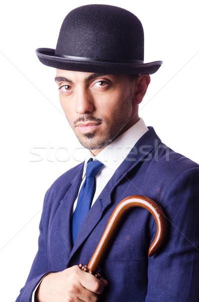 Işadamı eski stil şapka adam çalışmak Stok fotoğraf © Elnur