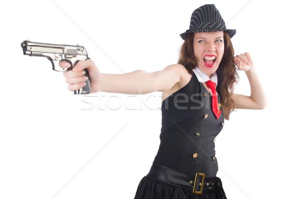 Genç kadın gangster tabanca beyaz kadın seksi Stok fotoğraf © Elnur