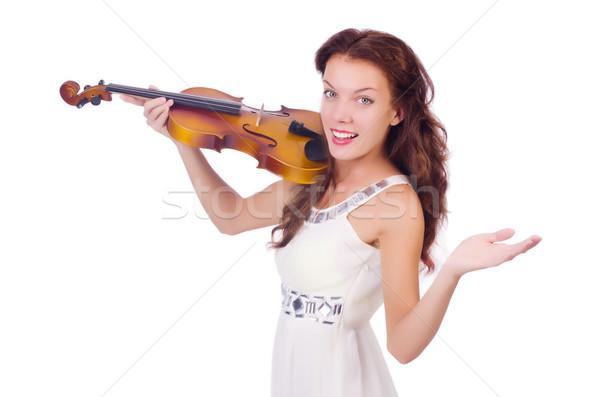 Fiatal lány hegedű fehér nő koncert hang Stock fotó © Elnur