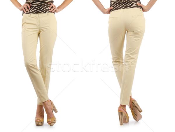 Pantalones modelo aislado jeans cuero femenino Foto stock © Elnur