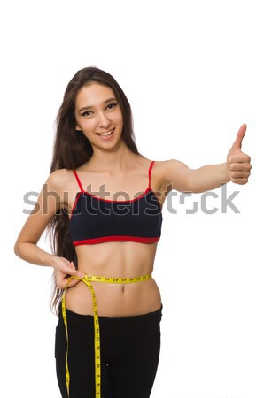 Jeune fille centimètre régime femme fille mains Photo stock © Elnur