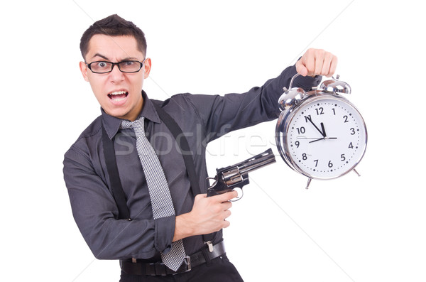 Funny businessman with clock and gun Stock photo © Elnur