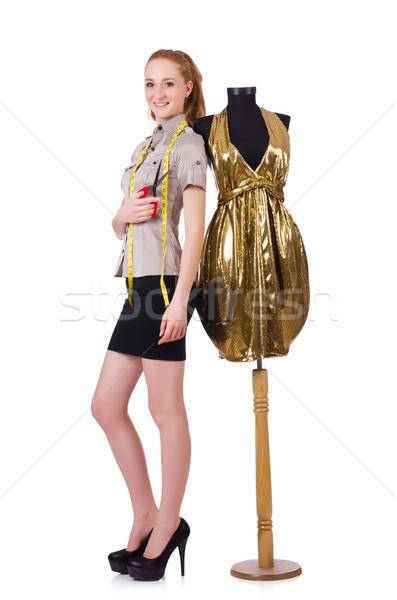 Jonge kleermaker geïsoleerd witte vrouw werk Stockfoto © Elnur
