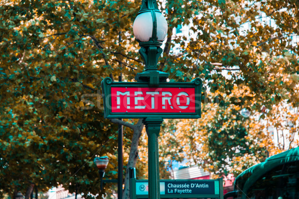 Paris metro sign on bright day Stock photo © Elnur