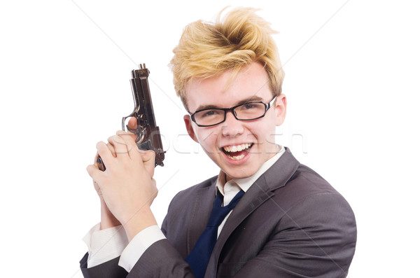 Komik işadamı tabanca beyaz el adam Stok fotoğraf © Elnur