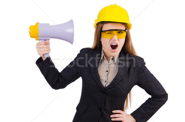 Female construction worker with loudspeaker isolated on white Stock photo © Elnur