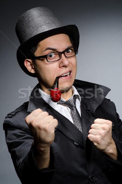 Komik dedektif boru şapka göz yüz Stok fotoğraf © Elnur