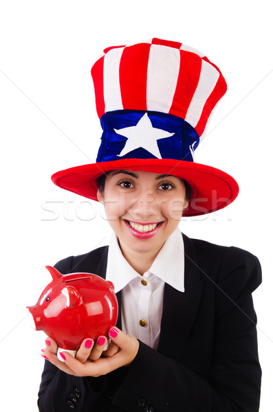 Stock photo: Businesswoman with piggy bank  isolated on white