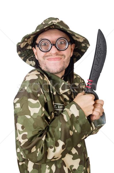 Komik asker bıçak beyaz adam yeşil Stok fotoğraf © Elnur