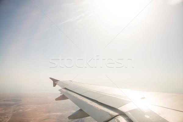 Stock fotó: Repülőgép · szárny · ki · ablak · technológia · kék