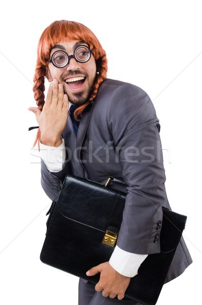 面白い ビジネスマン 女性 かつら 孤立した 白 ストックフォト © Elnur