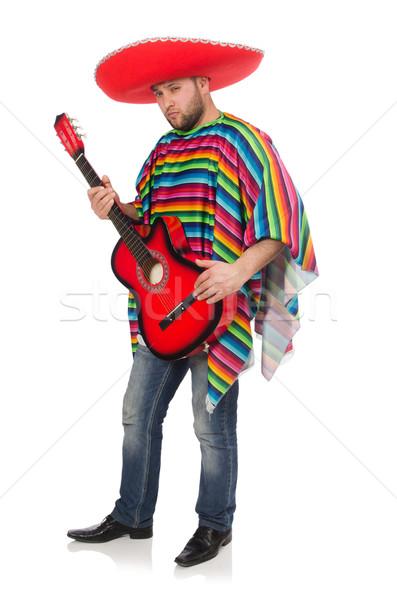Foto stock: Engraçado · mexicano · guitarra · isolado · branco · homem
