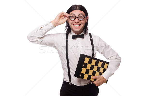 Funny young man with chessboard isolated on white Stock photo © Elnur