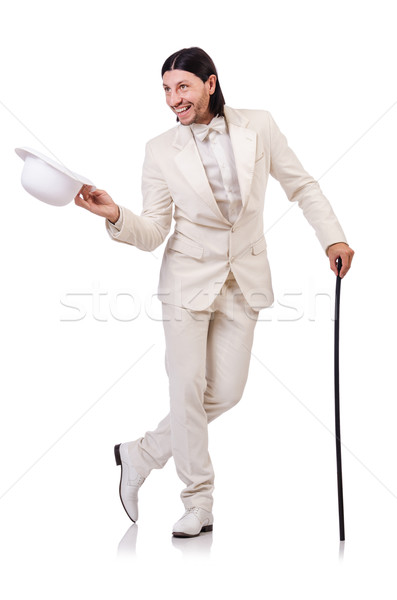 Gentleman in white suit isolated on white Stock photo © Elnur