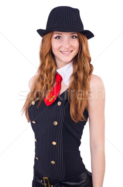 Vrouw gangster geïsoleerd witte mode pak Stockfoto © Elnur