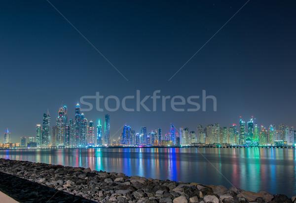 Stock fotó: Dubai · marina · felhőkarcolók · éjszaka · égbolt · víz