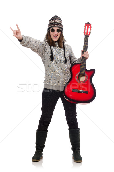 Young optimistic girl holding guitar isolated on white Stock photo © Elnur