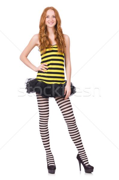 Kız siyah sarı çizgili elbise yalıtılmış Stok fotoğraf © Elnur
