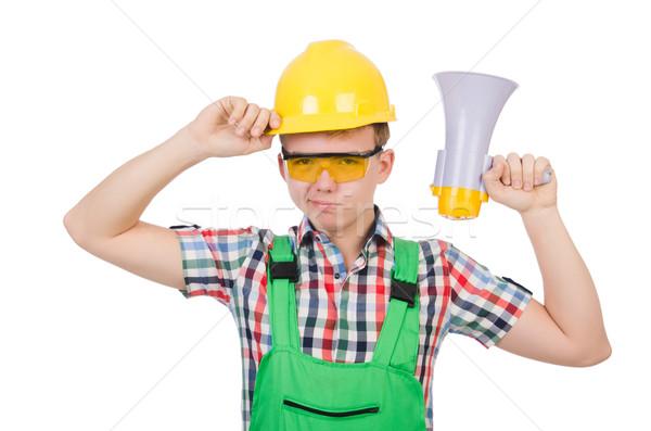 Funny trabajador de la construcción altavoz blanco edificio casa Foto stock © Elnur