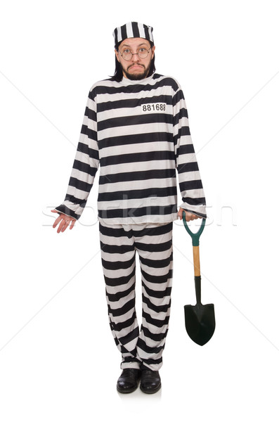 Prison inmate with spade isolated on white Stock photo © Elnur