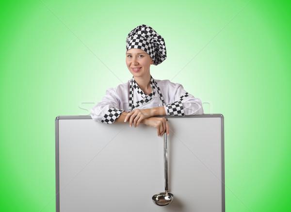 Foto stock: Cocinar · cucharón · bordo · mujer · feliz · casa