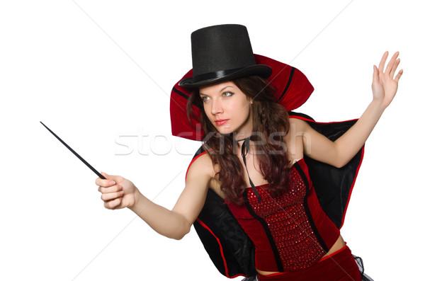 Kobieta magik odizolowany biały strony portret Zdjęcia stock © Elnur