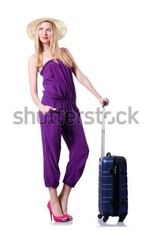 Vrouw koffer geïsoleerd witte glimlach mode Stockfoto © Elnur
