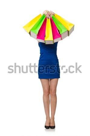 Positief man kleurrijk paraplu geïsoleerd witte Stockfoto © Elnur