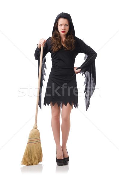 Stok fotoğraf: Kadın · süpürge · beyaz · saç · ev · arka · plan