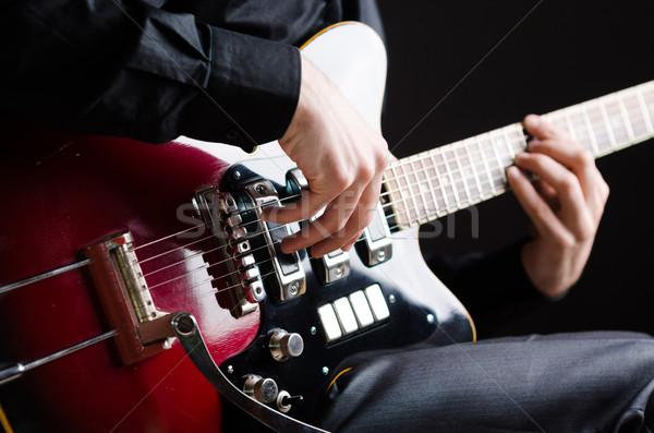 Stockfoto: Man · gitaar · concert · partij · metaal · kamer