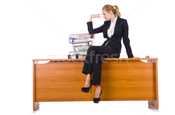 Woman with lots of paperwork isolated on white Stock photo © Elnur