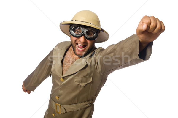 Man in safari hat with goggles on white Stock photo © Elnur
