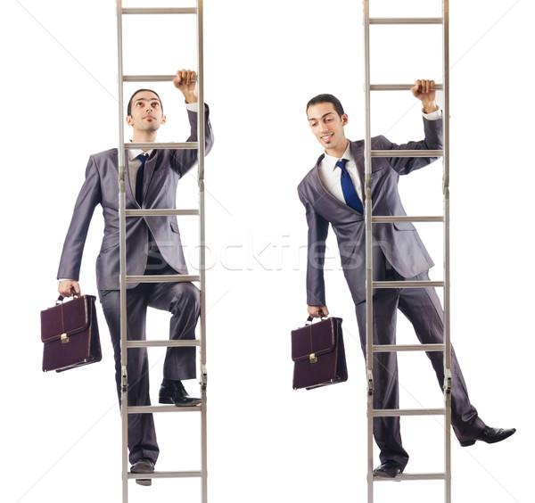 бизнесмен скалолазания лестнице изолированный белый человека Сток-фото © Elnur