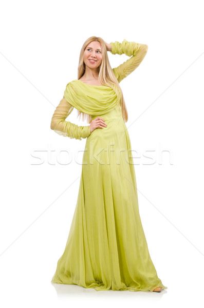 Young woman in elegant long green dress isolated on white Stock photo © Elnur
