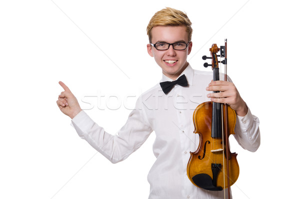 Young funny violin player isolated on white Stock photo © Elnur