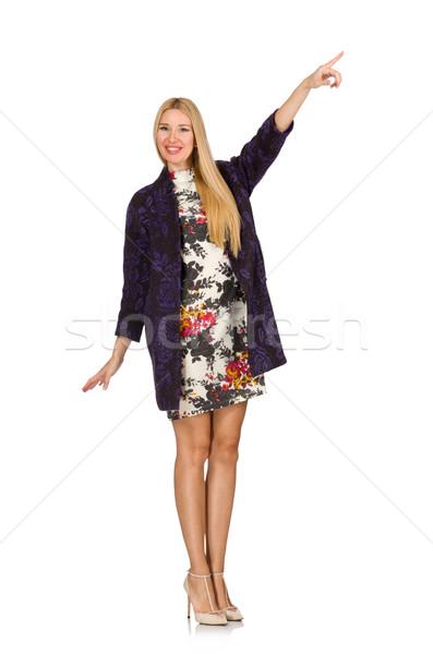 Modèle pourpre cardigan isolé blanche femme Photo stock © Elnur