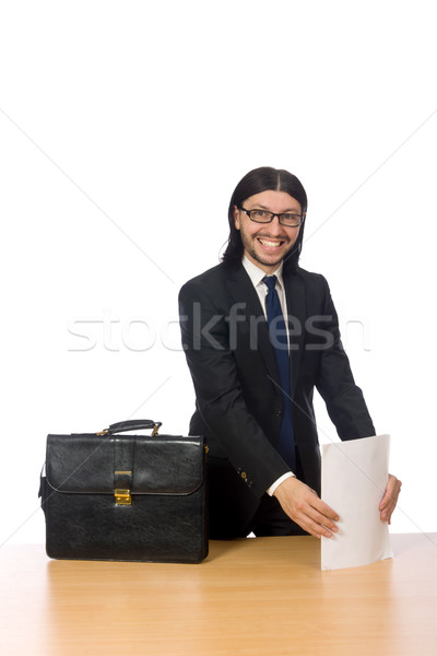 Businessman holding document isolated on white Stock photo © Elnur
