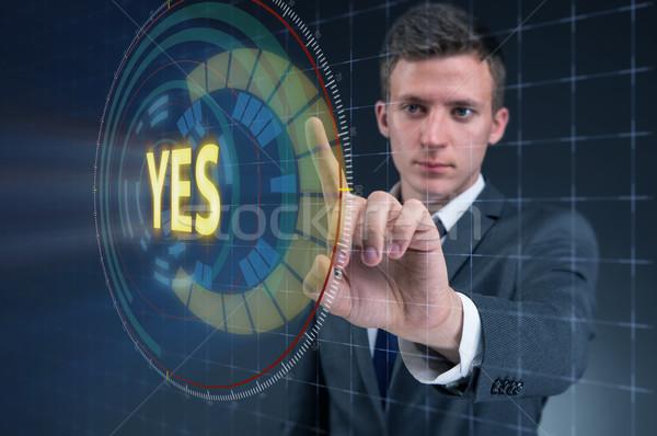ビジネスマン バーチャル ボタン はい 男 ストックフォト © Elnur