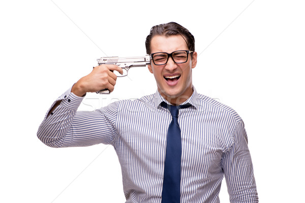 Young businessman with gun isolated on white Stock photo © Elnur