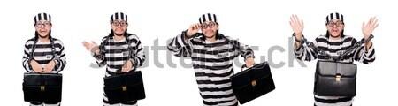 Funny więzienia więzień człowiek łańcucha blokady Zdjęcia stock © Elnur