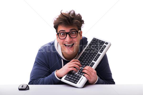 Grappig nerd man werken computer geïsoleerd Stockfoto © Elnur
