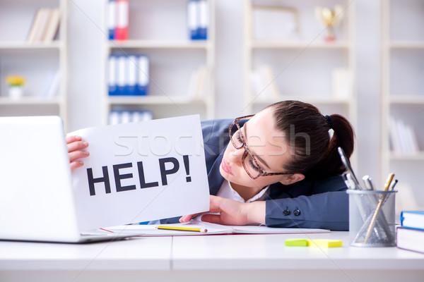 Geschäftsfrau flehend helfen Büro Frau Papier Stock foto © Elnur