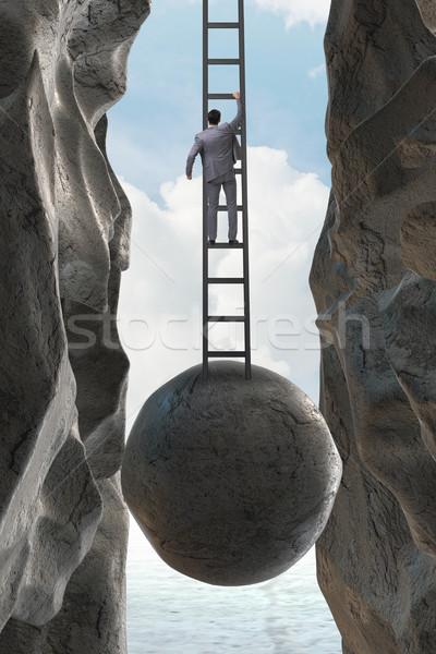 Businessman in career promotion concept Stock photo © Elnur