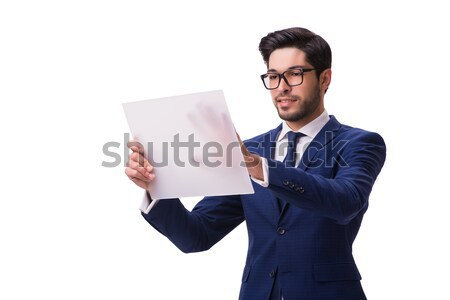 Bankrupt businessman hanging himself isolated on white Stock photo © Elnur