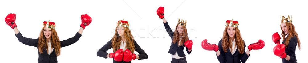 Reina boxeador mujer de negocios aislado blanco negocios Foto stock © Elnur