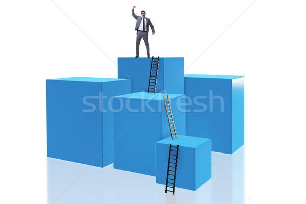 Сток-фото: бизнесмен · Top · изолированный · белый · бизнеса · работу