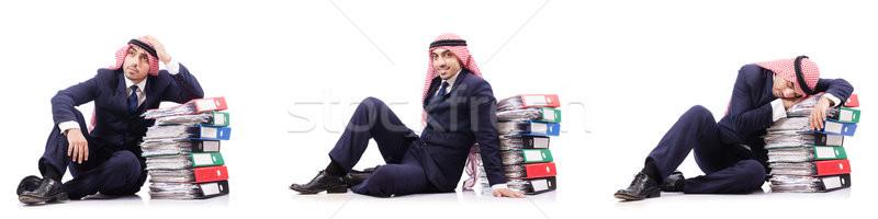 Arab businessman with many folders on white Stock photo © Elnur