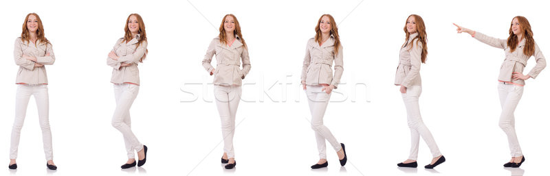 Happy woman in winter clothing isolated on white Stock photo © Elnur